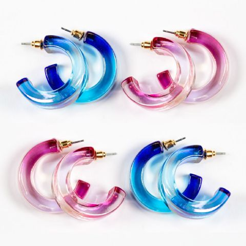 CELIA 2 TONE RESIN HOOPS BLUE
